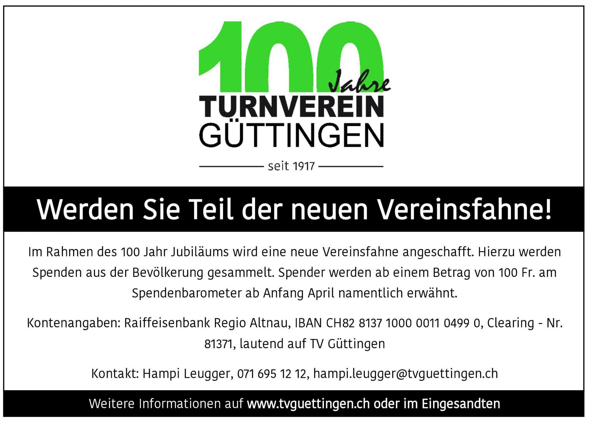 Neue Vereinsfahne Für Den Turnverein Tv Güttingen